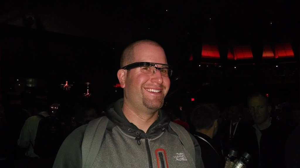 Rabbi Jason Miller wearing Google Glass at the Macklemore Concert during the AT&T Developers Summit